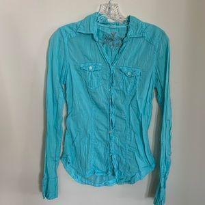 American Eagle Soft Teal Button Down Shirt